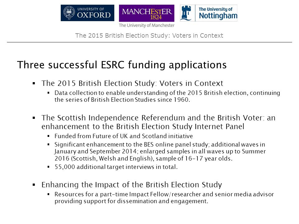 The 2015 British Election Study: Voters in Context Three successful ESRC funding applications  The 2015 British Election Study: Voters in Context  D
