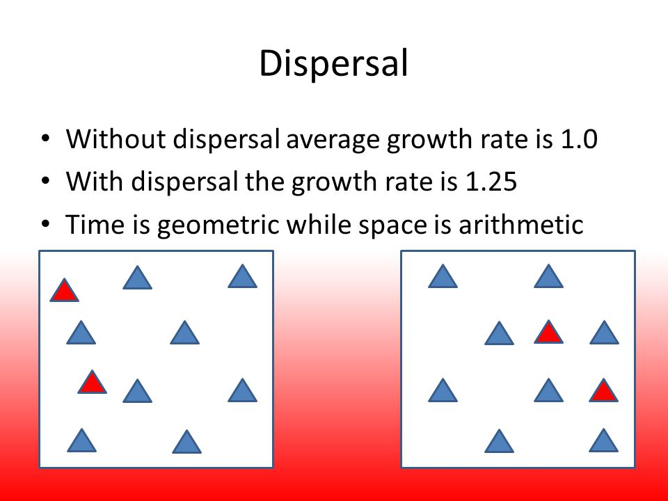 Dispersal Without dispersal average growth rate is 1.0 With dispersal the growth rate is 1.25 Time is geometric while space is arithmetic