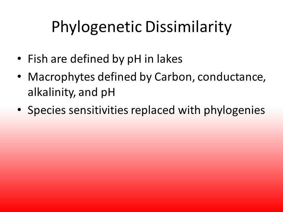 Phylogenetic Dissimilarity Fish are defined by pH in lakes Macrophytes defined by Carbon, conductance, alkalinity, and pH Species sensitivities replaced with phylogenies