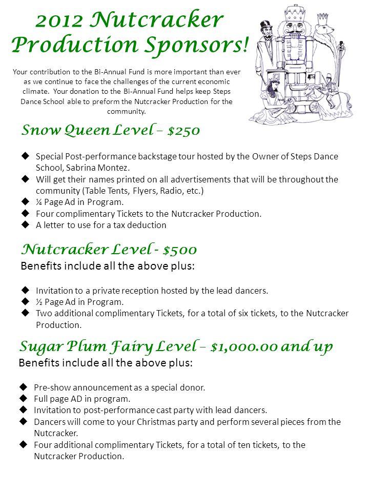 2012 Nutcracker Production Sponsors.