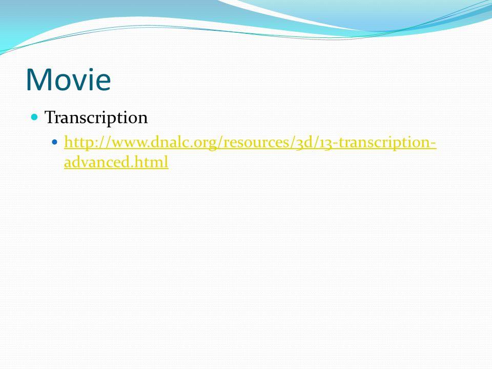 Movie Transcription http://www.dnalc.org/resources/3d/13-transcription- advanced.html http://www.dnalc.org/resources/3d/13-transcription- advanced.htm