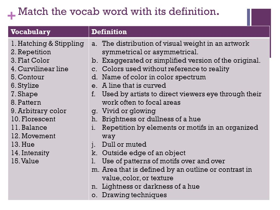 + Match the vocab word with its definition. VocabularyDefinition 1.