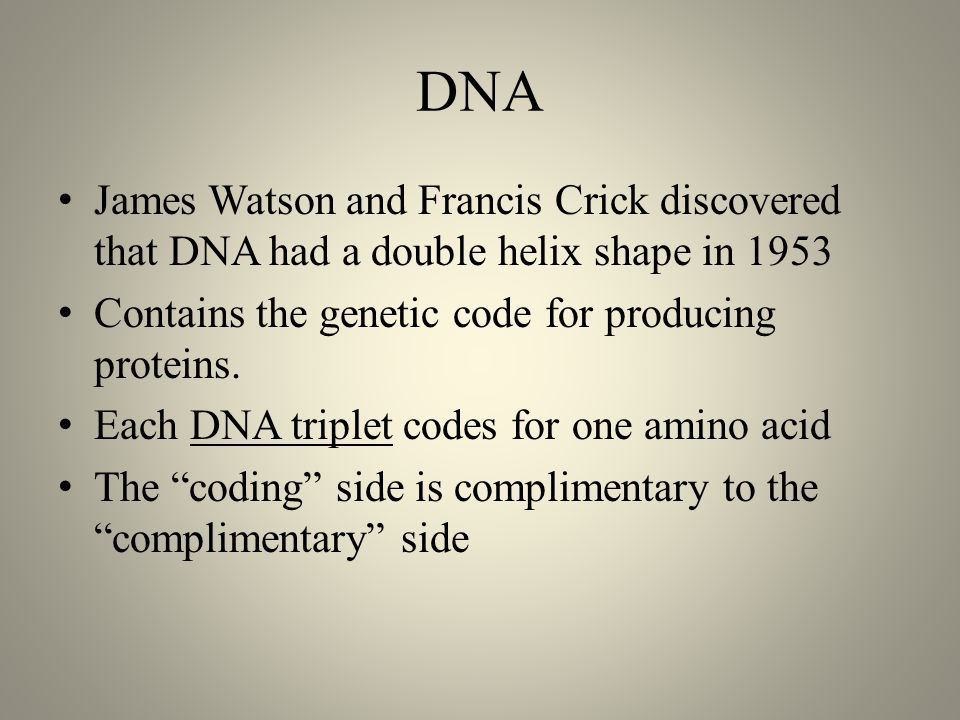 DNA James Watson and Francis Crick discovered that DNA had a double helix shape in 1953 Contains the genetic code for producing proteins.