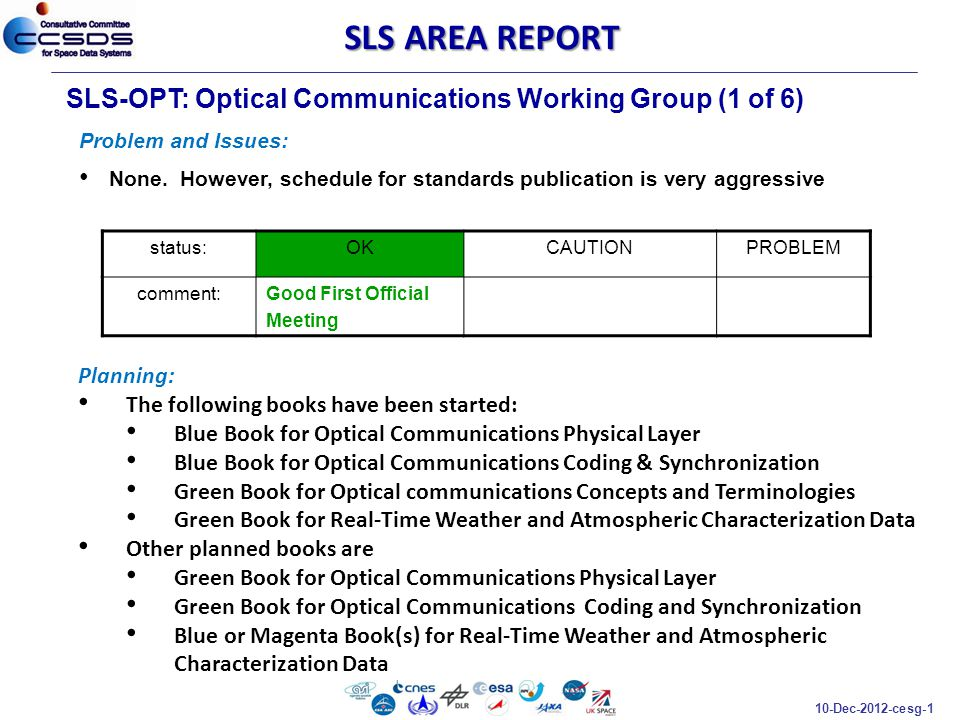 10-Dec-2012-cesg-1 SLS-OPT: Optical Communications Working Group (1 of 6) Problem and Issues: None. However, schedule for standards publication is ver