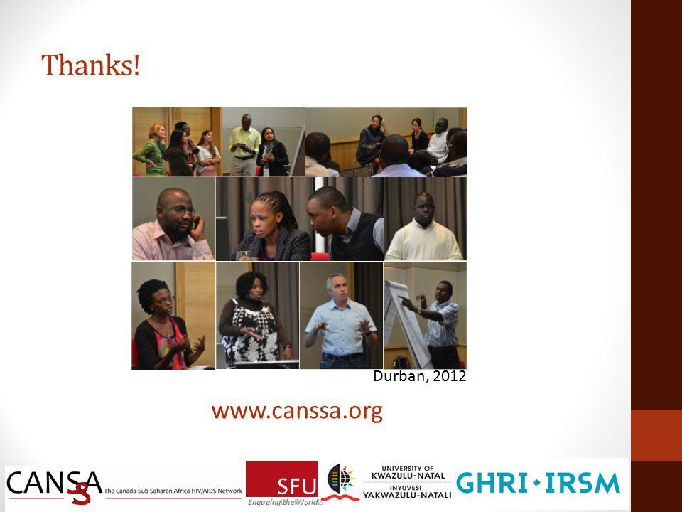 Thanks! Durban, 2012 www.canssa.org