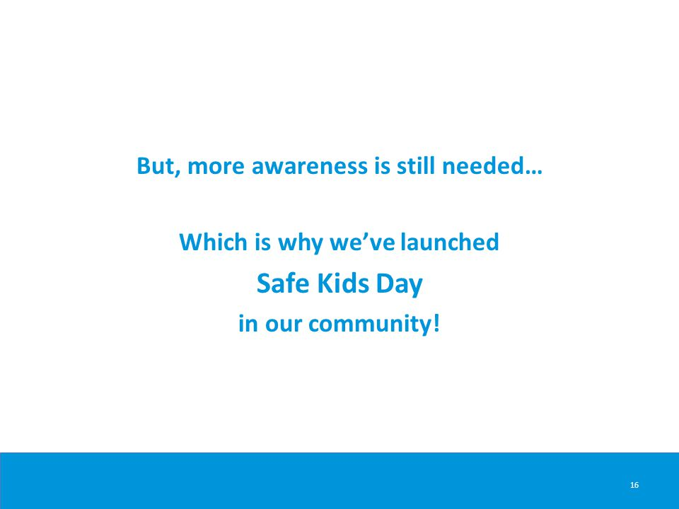 16 But, more awareness is still needed… Which is why we've launched Safe Kids Day in our community!