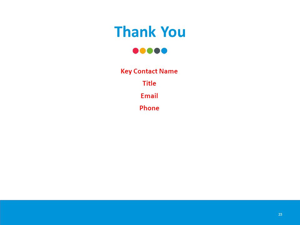 Thank You 23 Key Contact Name Title Email Phone