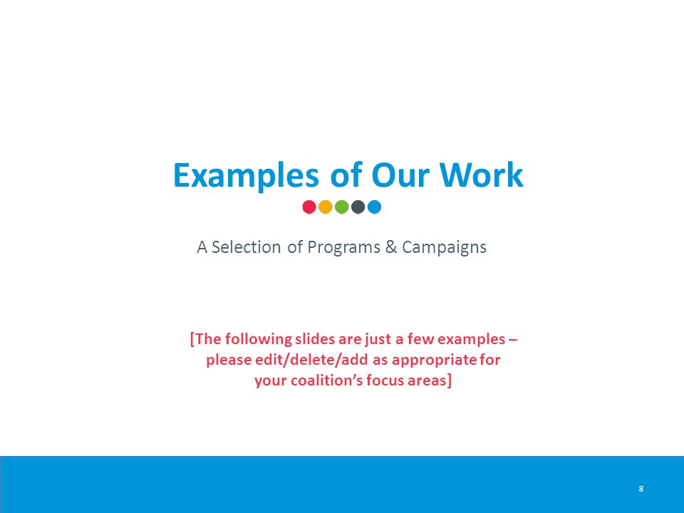 Examples of Our Work 8 A Selection of Programs & Campaigns [The following slides are just a few examples – please edit/delete/add as appropriate for your coalition's focus areas]