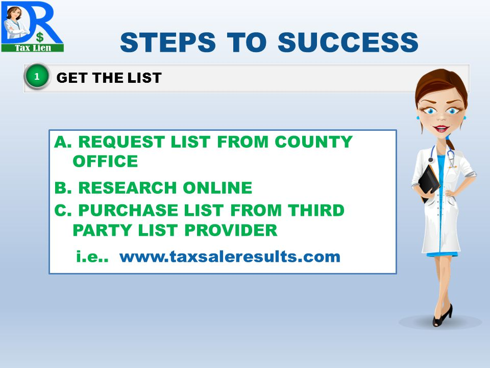 STEPS TO SUCCESS GET THE LIST 1 A.REQUEST LIST FROM COUNTY OFFICE B.