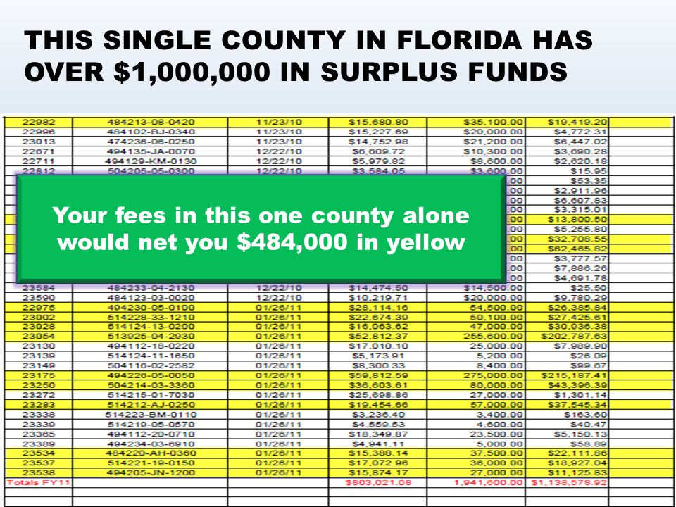 Your fees in this one county alone would net you $484,000 in yellow THIS SINGLE COUNTY IN FLORIDA HAS OVER $1,000,000 IN SURPLUS FUNDS
