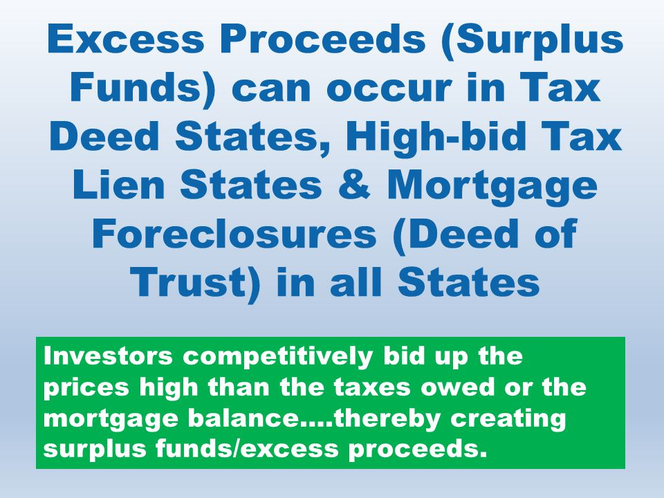 Excess Proceeds (Surplus Funds) can occur in Tax Deed States, High-bid Tax Lien States & Mortgage Foreclosures (Deed of Trust) in all States Investors competitively bid up the prices high than the taxes owed or the mortgage balance….thereby creating surplus funds/excess proceeds.