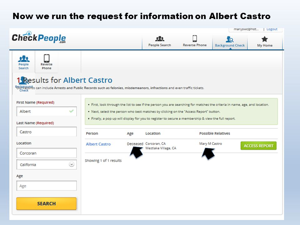 Now we run the request for information on Albert Castro