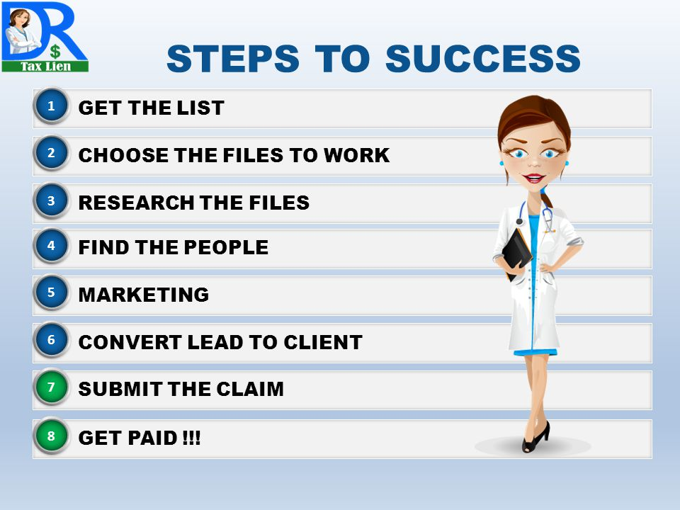 STEPS TO SUCCESS GET THE LIST 1 CHOOSE THE FILES TO WORK 2 RESEARCH THE FILES 3 MARKETING 5 CONVERT LEAD TO CLIENT 6 SUBMIT THE CLAIM 7 GET PAID !!.
