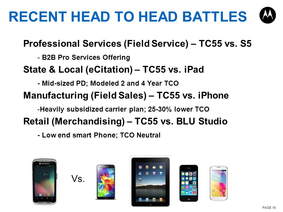 RECENT HEAD TO HEAD BATTLES PAGE 19 Professional Services (Field Service) – TC55 vs.