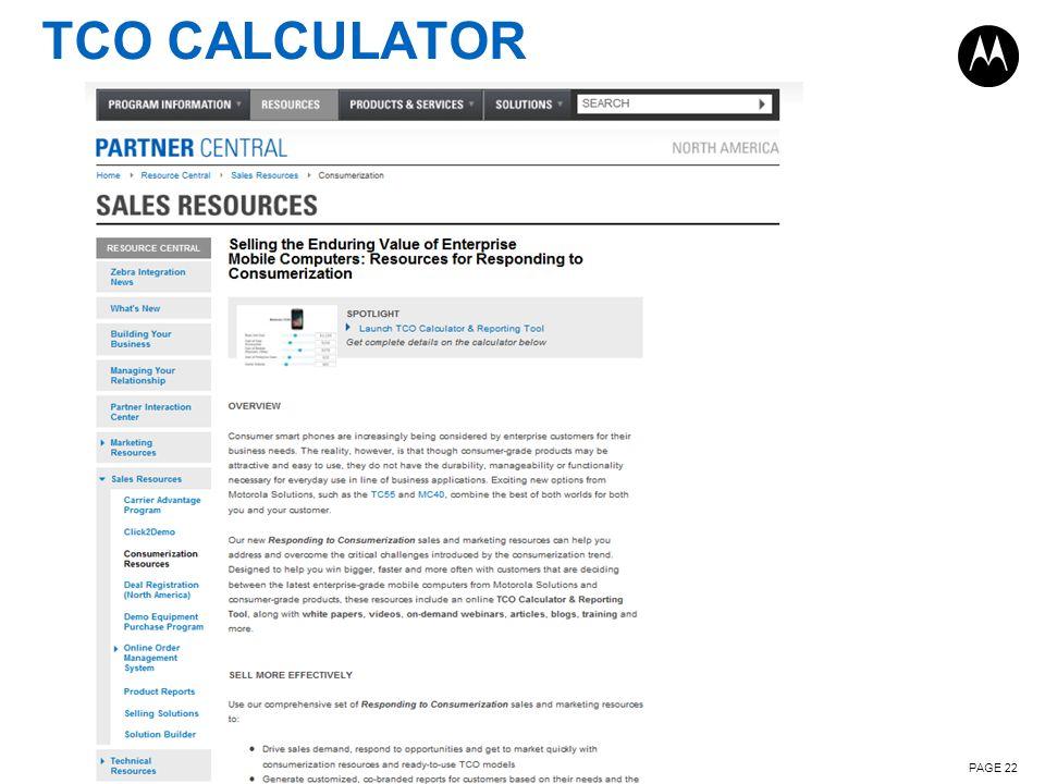 TCO CALCULATOR PAGE 22
