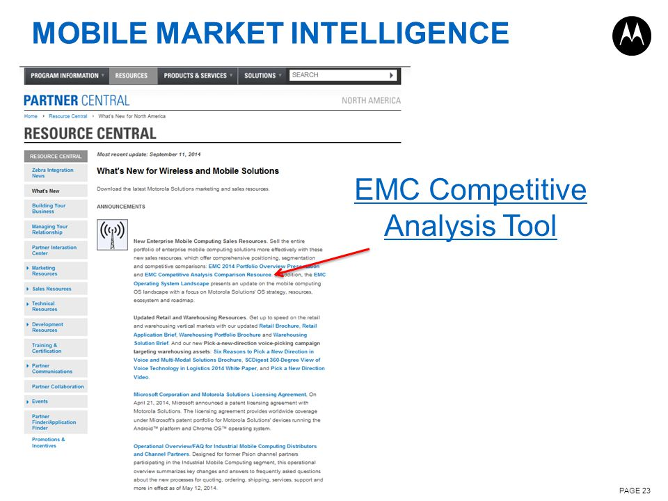 MOBILE MARKET INTELLIGENCE PAGE 23 EMC Competitive Analysis Tool