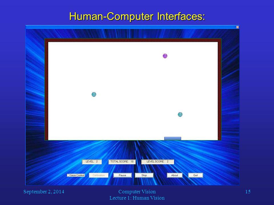September 2, 2014Computer Vision Lecture 1: Human Vision 15 Human-Computer Interfaces: