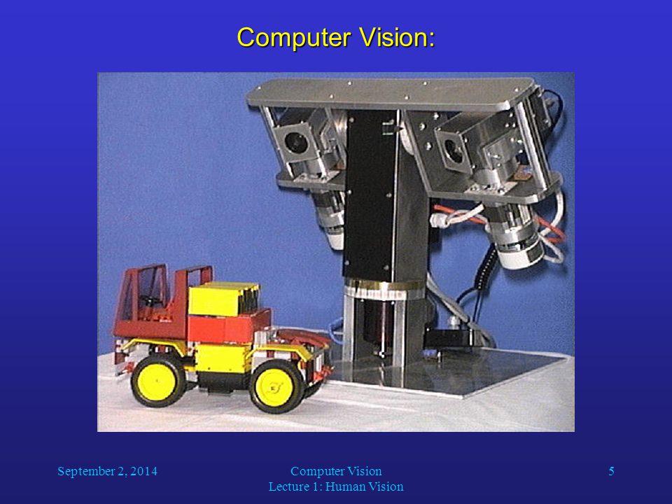 September 2, 2014Computer Vision Lecture 1: Human Vision 5 Computer Vision: