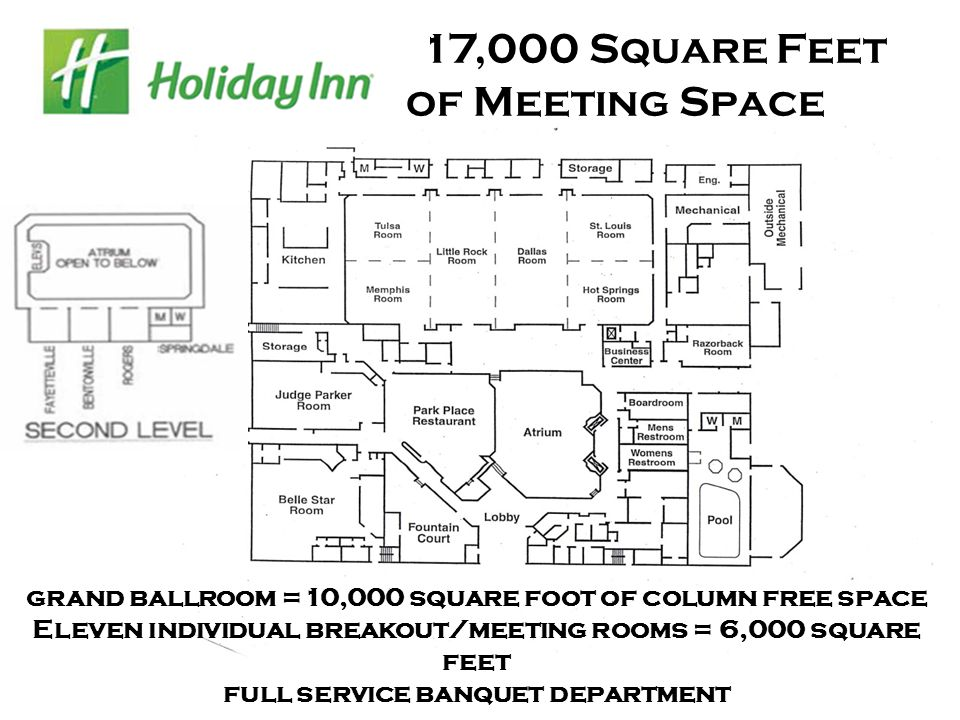 17,000 Square Feet of Meeting Space grand ballroom =10,000 square foot of column free space Eleven individual breakout/meeting rooms = 6,000 square feet full service banquet department