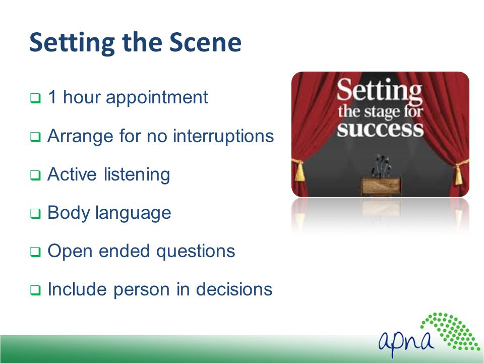 Setting the Scene  1 hour appointment  Arrange for no interruptions  Active listening  Body language  Open ended questions  Include person in decisions