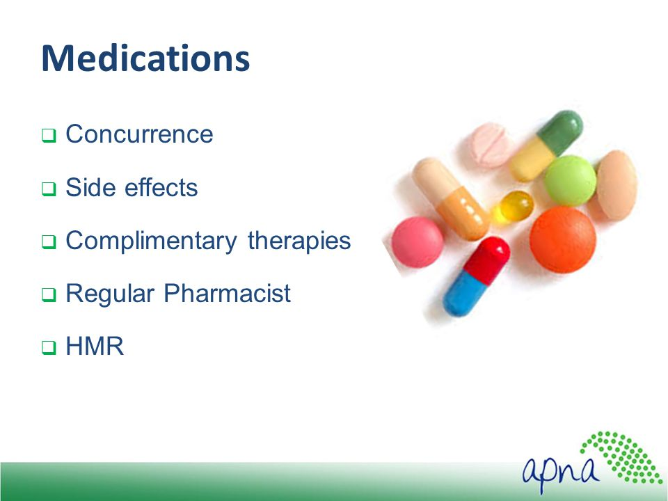 Medications  Concurrence  Side effects  Complimentary therapies  Regular Pharmacist  HMR