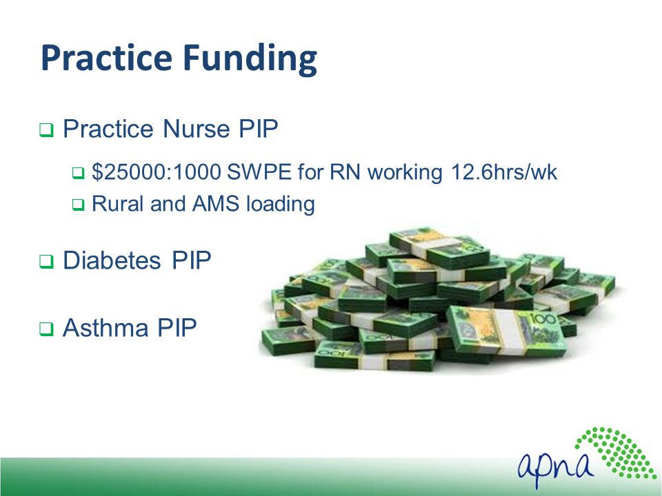 Practice Funding  Practice Nurse PIP  $25000:1000 SWPE for RN working 12.6hrs/wk  Rural and AMS loading  Diabetes PIP  Asthma PIP
