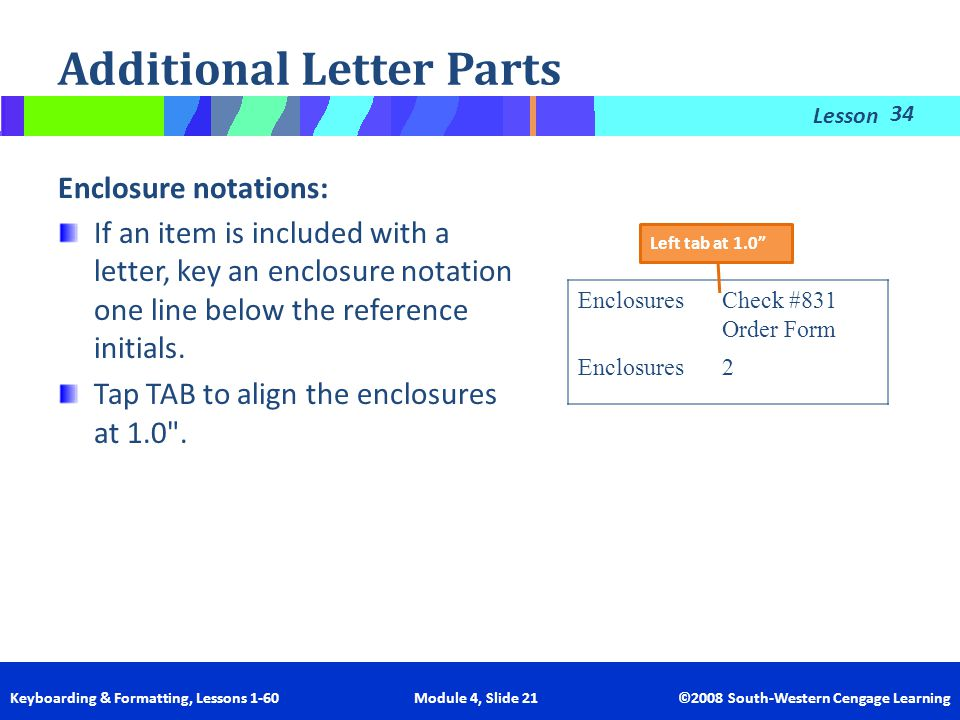 Lesson Keyboarding & Formatting, Lessons 1-60 Module 4, Slide 21 ©2008 South-Western Cengage Learning Additional Letter Parts If an item is included w
