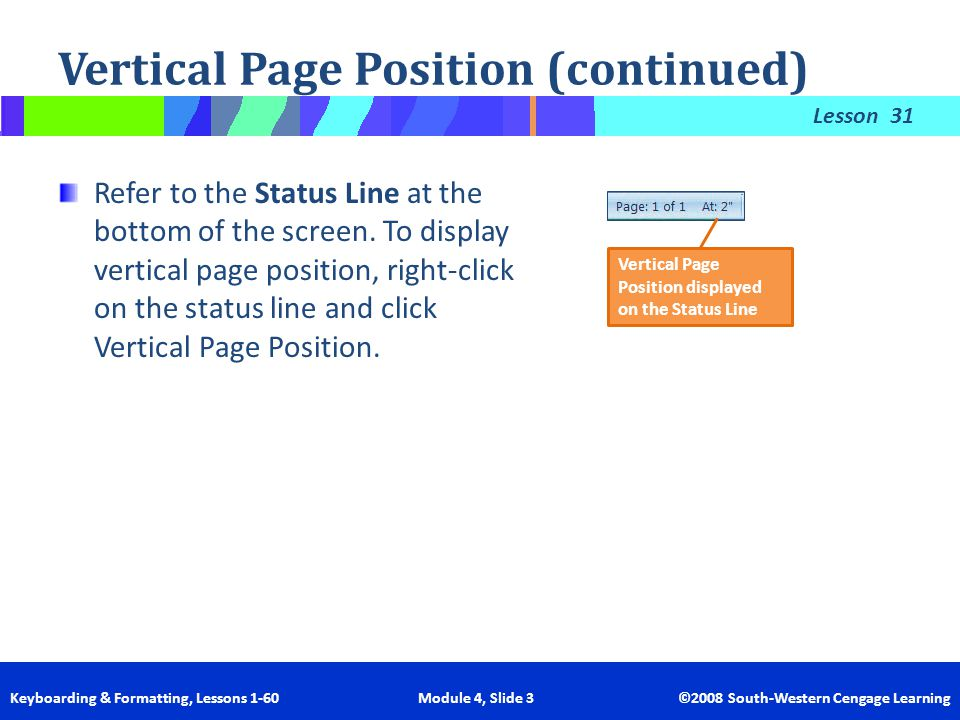 Lesson Keyboarding & Formatting, Lessons 1-60 Module 4, Slide 3 ©2008 South-Western Cengage Learning Vertical Page Position (continued) 31 Refer to th