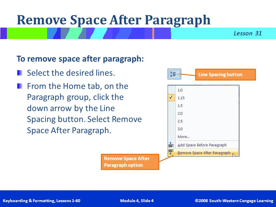 Lesson Keyboarding & Formatting, Lessons 1-60 Module 4, Slide 4 ©2008 South-Western Cengage Learning Remove Space After Paragraph To remove space afte