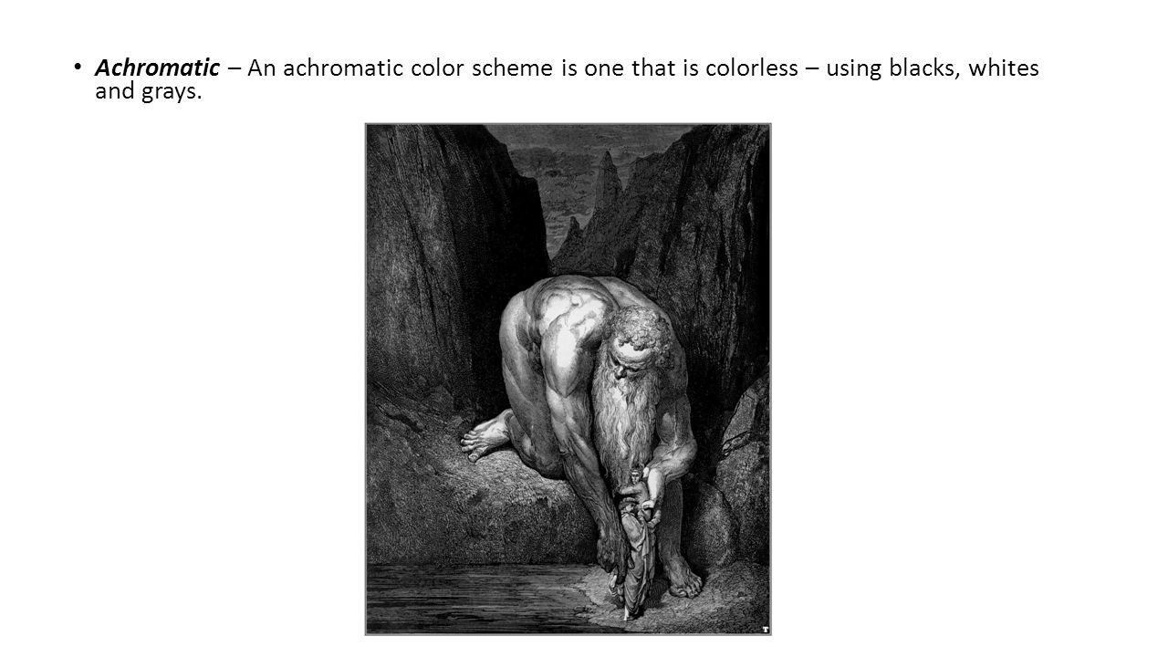 Achromatic – An achromatic color scheme is one that is colorless – using blacks, whites and grays.