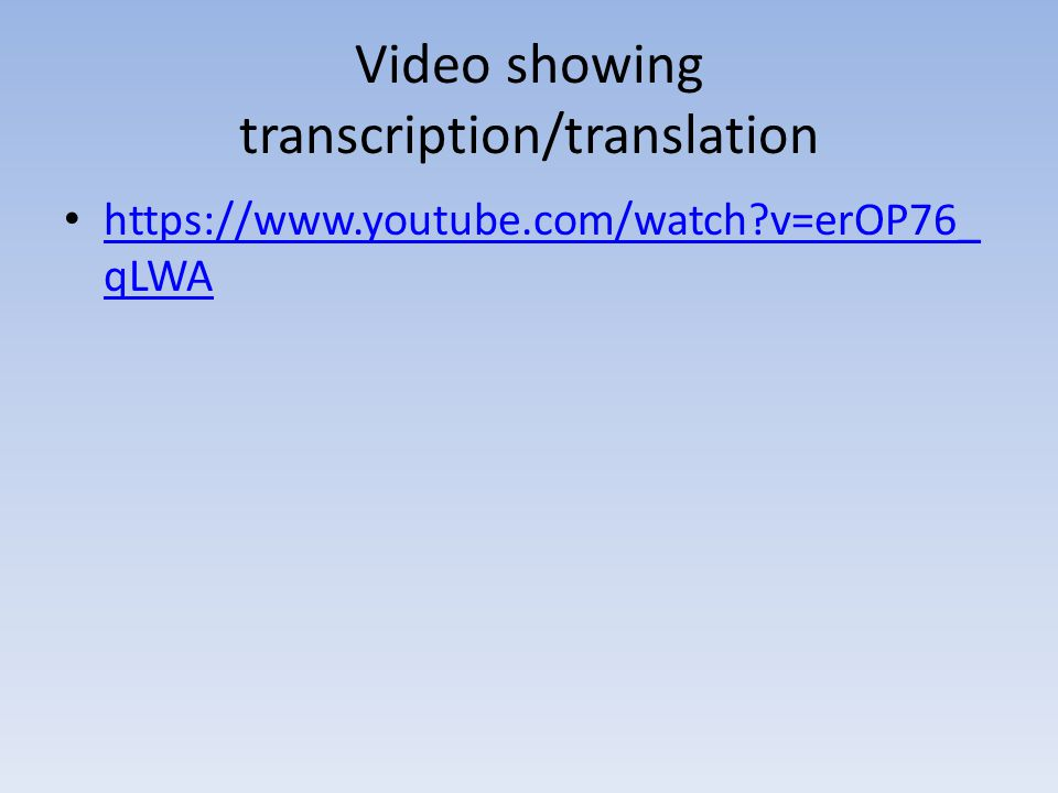 Video showing transcription/translation https://www.youtube.com/watch?v=erOP76_ qLWA https://www.youtube.com/watch?v=erOP76_ qLWA