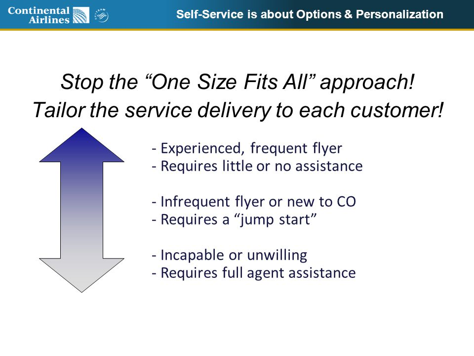 Self-Service is about Options & Personalization Stop the One Size Fits All approach.