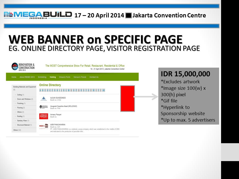 WEB BANNER on SPECIFIC PAGE EG.