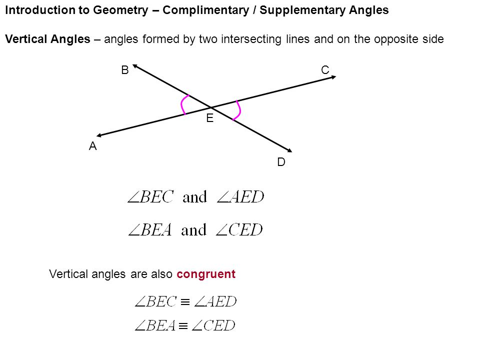 Introduction to Geometry – Complimentary / Supplementary Angles Vertical Angles – angles formed by two intersecting lines and on the opposite side A E D CB Vertical angles are also congruent