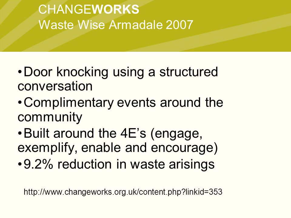 CHANGEWORKS Door knocking using a structured conversation Complimentary events around the community Built around the 4E's (engage, exemplify, enable and encourage) 9.2% reduction in waste arisings http://www.changeworks.org.uk/content.php linkid=353 Waste Wise Armadale 2007