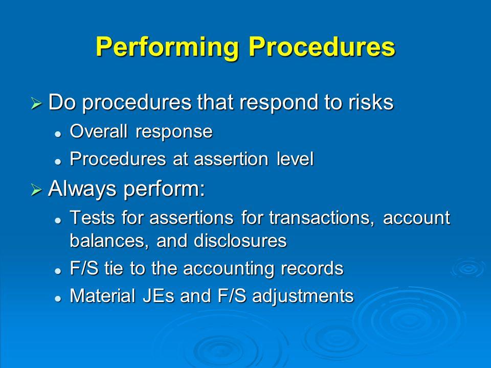 Performing Procedures  Do procedures that respond to risks Overall response Overall response Procedures at assertion level Procedures at assertion le