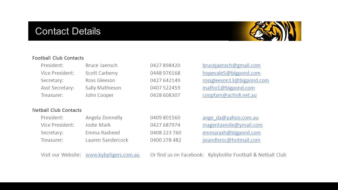 Football Club Contacts President:Bruce Jaensch0427 898420brucejaensch@gmail.combrucejaensch@gmail.com Vice President:Scott Carberry0448 976168hopevale