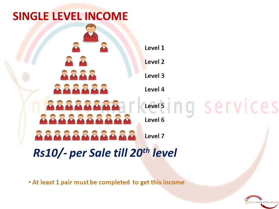 SINGLE LEVEL INCOME Level 1 Level 2 Level 3 Level 4 Level 5 Level 6 Level 7 Rs10/- per Sale till 20 th level At least 1 pair must be completed to get this income