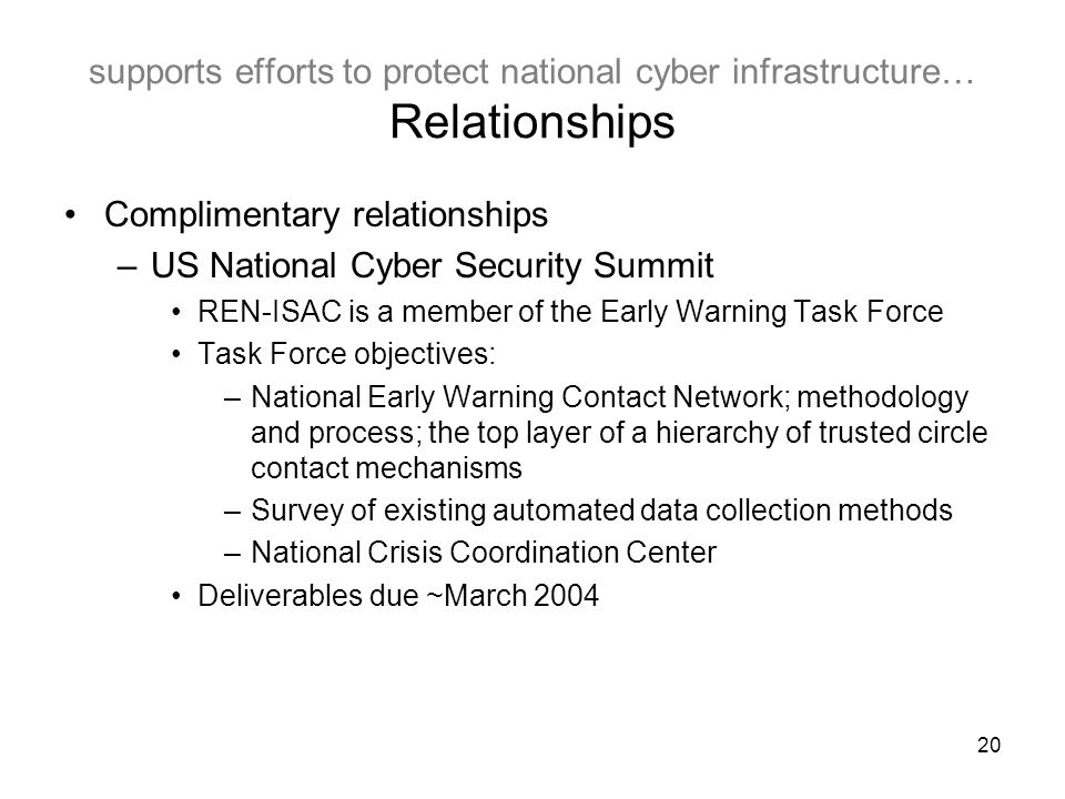 20 supports efforts to protect national cyber infrastructure… Relationships Complimentary relationships –US National Cyber Security Summit REN-ISAC is a member of the Early Warning Task Force Task Force objectives: –National Early Warning Contact Network; methodology and process; the top layer of a hierarchy of trusted circle contact mechanisms –Survey of existing automated data collection methods –National Crisis Coordination Center Deliverables due ~March 2004