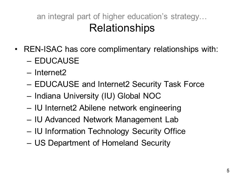 5 an integral part of higher education's strategy… Relationships REN-ISAC has core complimentary relationships with: –EDUCAUSE –Internet2 –EDUCAUSE and Internet2 Security Task Force –Indiana University (IU) Global NOC –IU Internet2 Abilene network engineering –IU Advanced Network Management Lab –IU Information Technology Security Office –US Department of Homeland Security