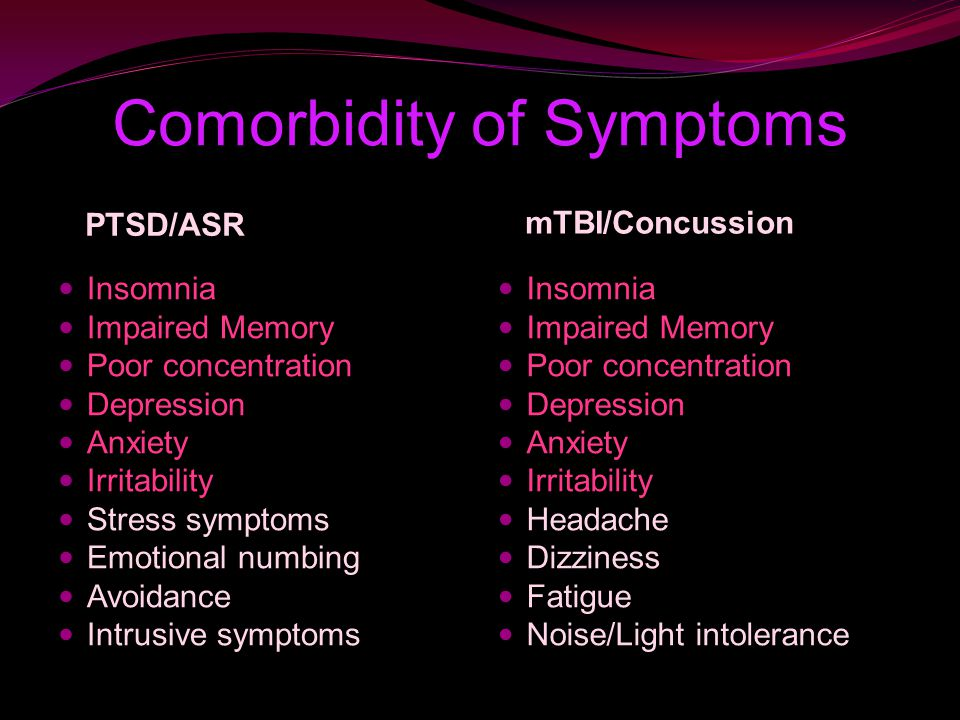 Comorbidity of Symptoms mTBI/Concussion Insomnia Impaired Memory Poor concentration Depression Anxiety Irritability Stress symptoms Emotional numbing Avoidance Intrusive symptoms Insomnia Impaired Memory Poor concentration Depression Anxiety Irritability Headache Dizziness Fatigue Noise/Light intolerance PTSD/ASR