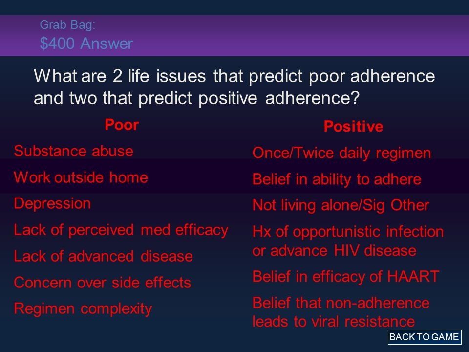 Grab Bag: $400 Answer Poor Substance abuse Work outside home Depression Lack of perceived med efficacy Lack of advanced disease Concern over side effe
