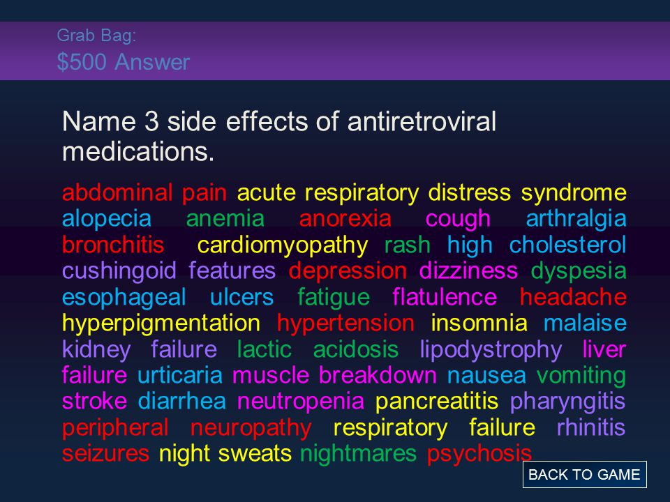 Grab Bag: $500 Answer Name 3 side effects of antiretroviral medications. abdominal pain acute respiratory distress syndrome alopecia anemia anorexia c