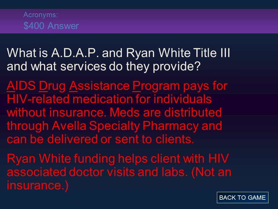 Grab Bag: $500 Question Name 3 side effects of antiretroviral medications. BACK TO GAME ANSWER