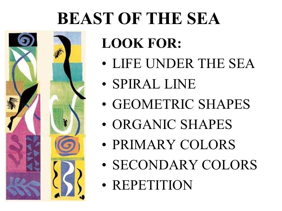 BEAST OF THE SEA LOOK FOR: LIFE UNDER THE SEA SPIRAL LINE GEOMETRIC SHAPES ORGANIC SHAPES PRIMARY COLORS SECONDARY COLORS REPETITION