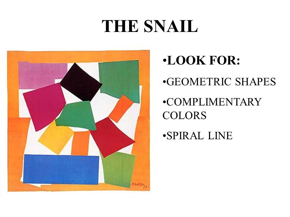 THE SNAIL LOOK FOR: GEOMETRIC SHAPES COMPLIMENTARY COLORS SPIRAL LINE