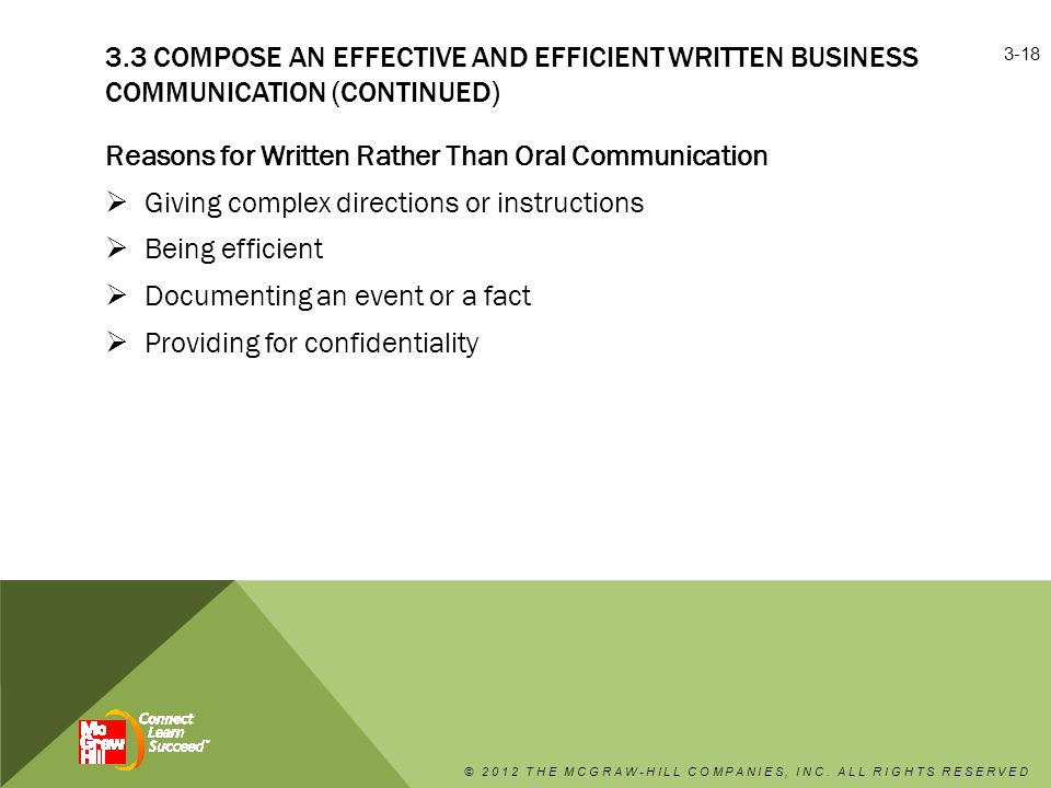 Reasons for Written Rather Than Oral Communication  Giving complex directions or instructions  Being efficient  Documenting an event or a fact  Providing for confidentiality © 2012 THE MCGRAW-HILL COMPANIES, INC.