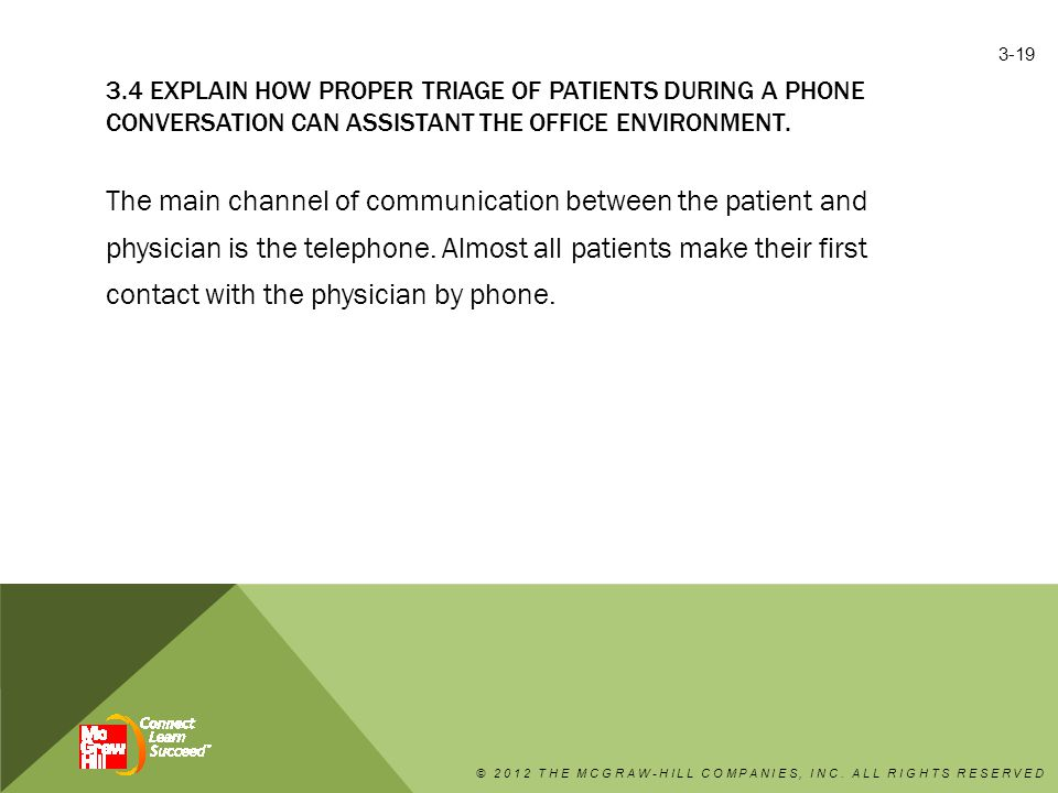 3.4 EXPLAIN HOW PROPER TRIAGE OF PATIENTS DURING A PHONE CONVERSATION CAN ASSISTANT THE OFFICE ENVIRONMENT.