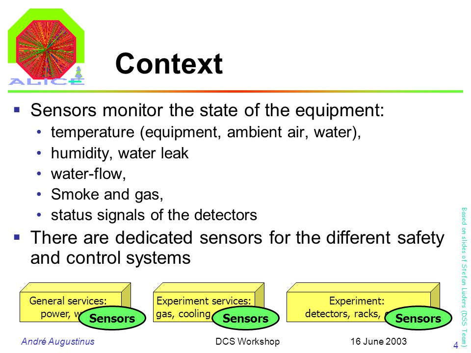 André Augustinus 16 June 2003DCS Workshop 4 Context  Sensors monitor the state of the equipment: temperature (equipment, ambient air, water), humidity, water leak water-flow, Smoke and gas, status signals of the detectors  There are dedicated sensors for the different safety and control systems General services: power, water Experiment services: gas, cooling, magnet Experiment: detectors, racks, crates Sensors Based on slides of Stefan Lüders (DSS Team)