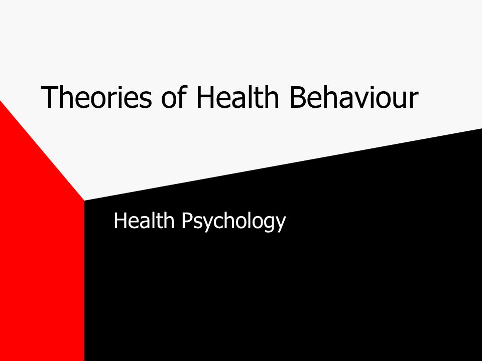 Theories of Health Behaviour Health Psychology